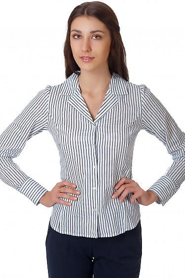 Фото Блузка полосатая с английским воротником Деловая женская одежда