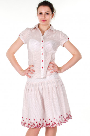 Фото Блузка в красный горошек Деловая женская одежда