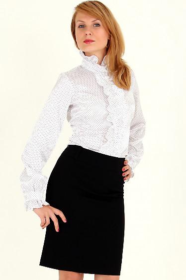 Фото Блузка в мелкий горошек с рюшами Деловая женская одежда