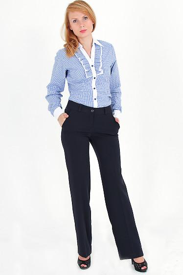 Фото Блузка в синюю клетку с рюшами Деловая женская одежда
