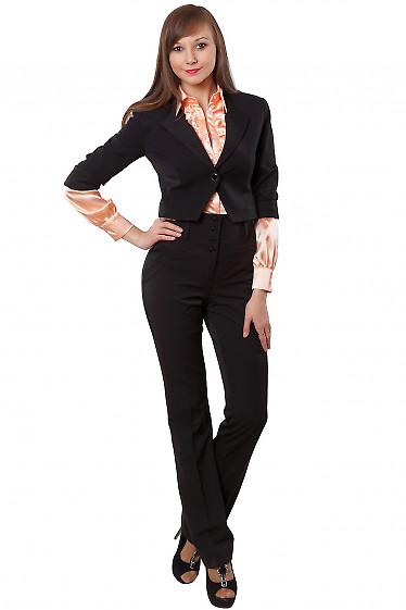 Брюки черные с высокой талией на флисе Деловая женская одежда