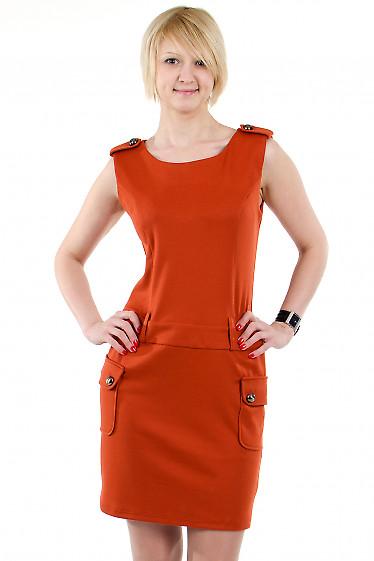 Фото Платье с накладными карманами теракотовое Деловая женская одежда