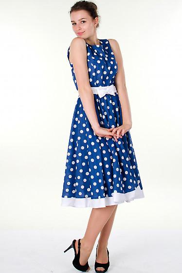 Фото Платье синее в горох Деловая женская одежда
