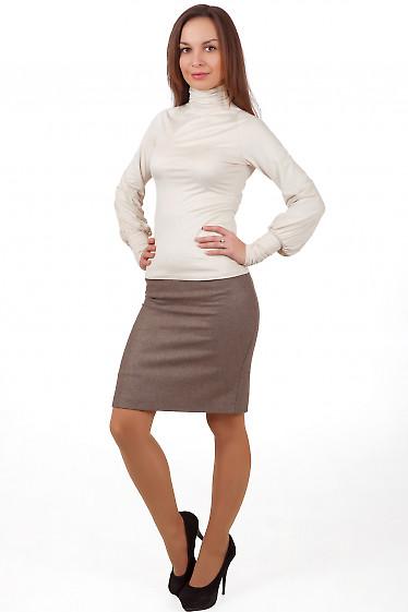 Фото Юбка бежевая теплая с высокой талией Деловая женская одежда