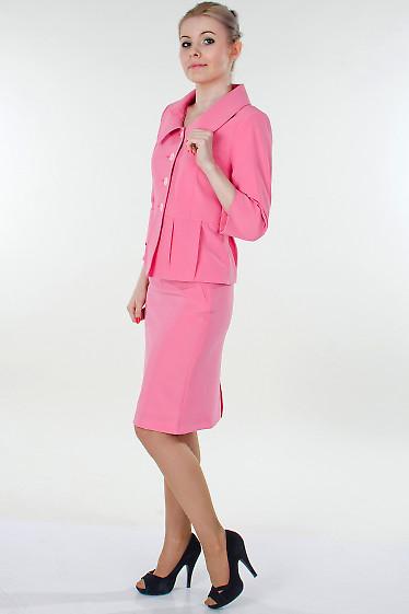Фото Юбка розовая с молниями Деловая женская одежда