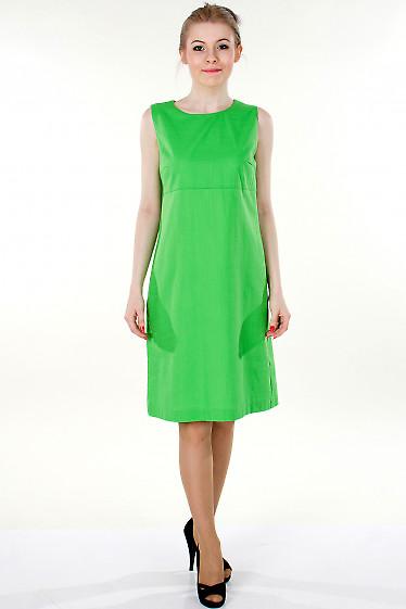 Фото Зеленый льняной сарафан Деловая женская одежда