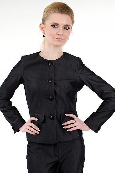 Фото Жакет черный без воротника Деловая женская одежда