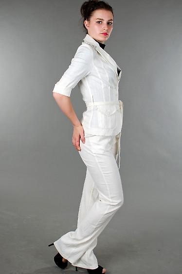 Фото Жакет льняной молочный с коротким рукавом Деловая женская одежда
