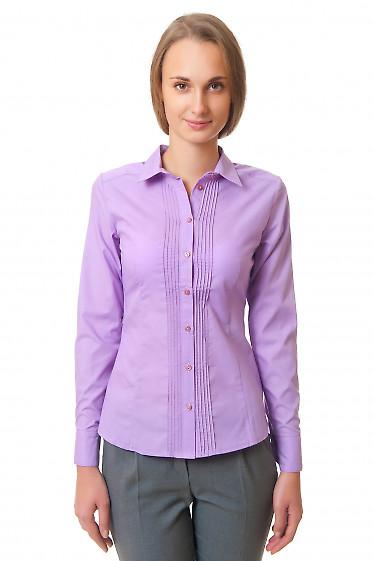 Сиреневая блузка со складочками Деловая женская одежда