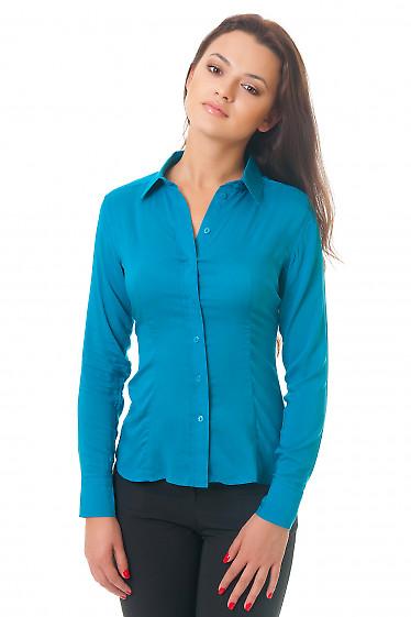 Блузка зеленая классическая с планочкой Деловая женская одежда