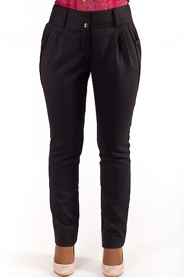 Брюки черные с карманами-бантиками Деловая женская одежда