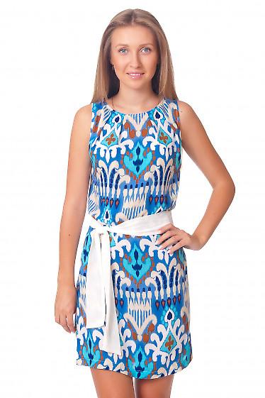 Платье голубое с защипами у горловины Деловая женская одежда