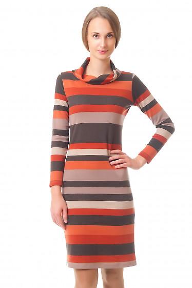 Платье трикотажное к коричневую полоску Деловая женская одежда
