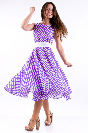 Фото Платье в горох сиреневое Деловая женская одежда