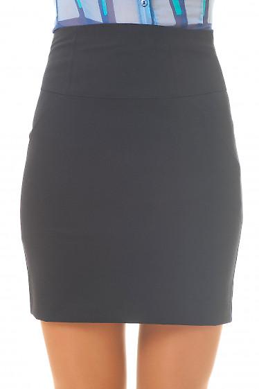Юбка черная короткая с высокой талией Деловая женская одежда