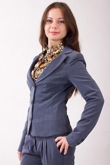 Фото Жакет теплый с круглым вырезом серый Деловая женская одежда