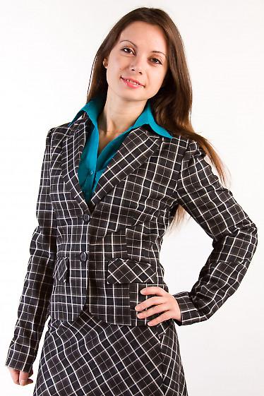Фото Жакет в коричневую клетку Деловая женская одежда