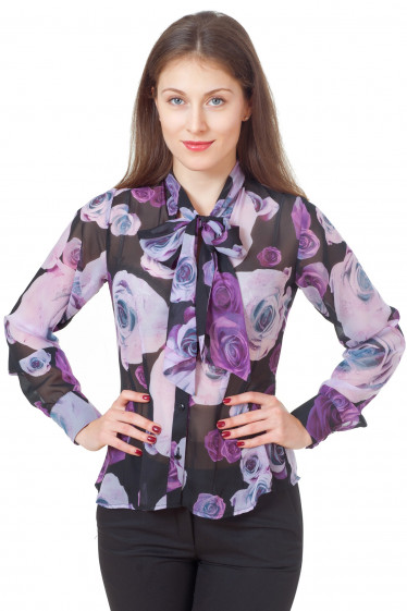 Блузка черная в крупные цветы Деловая женская одежда
