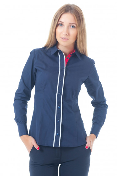 Купить блузку синюю с красно-белым воротником Деловая женская одежда