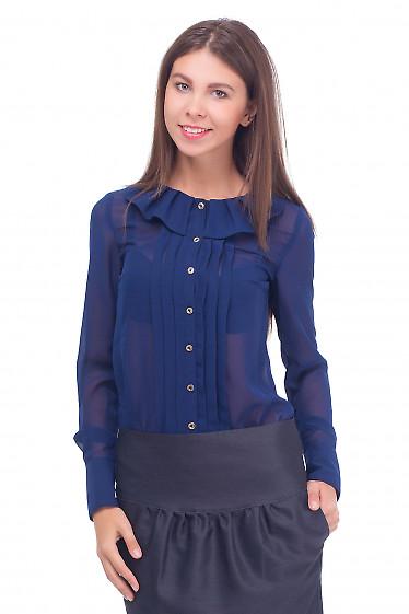 Блузка синяя с воротником в складку Деловая женская одежда