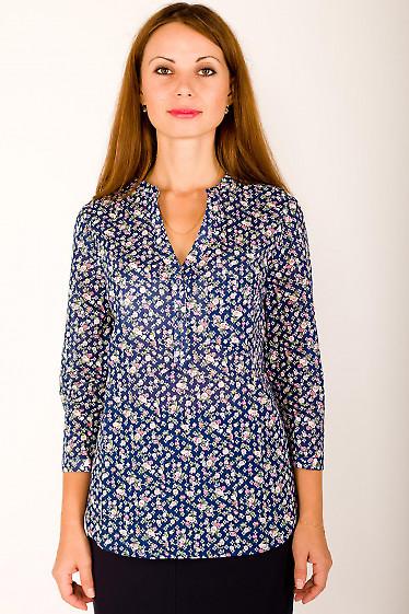 Фото Блузка синяя в цветочки Деловая женская одежда