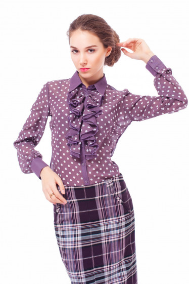 Купить блузку сливовую в горошек Деловая женская одежда