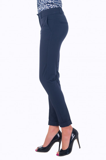 Синие зауженные брюки со средней посадкой