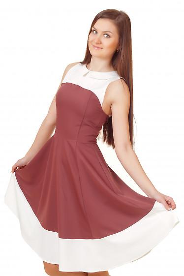 Платье коктельное коричневое Деловая женская одежда