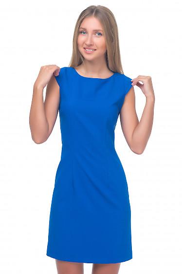 Платье ярко-синее с рукавчиком Деловая женская одежда