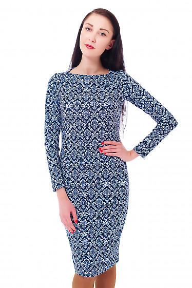 Купить синее платье в белый орнамент Деловая женская одежда
