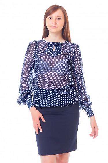 Блузка синяя в горошек с бантиком Деловая женская одежда
