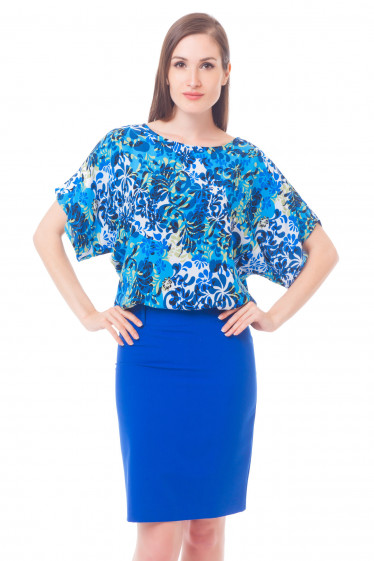 Блузка в синие лепестки Деловая женская одежда