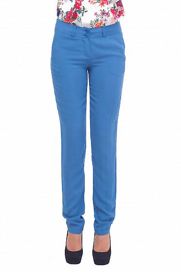 Брюки голубые из штапеля Деловая женская одежда