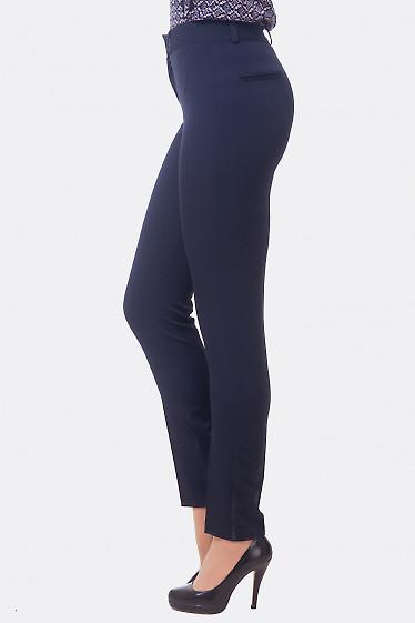 Купить брюки синие зауженные с высокой талией Деловая женская одежда