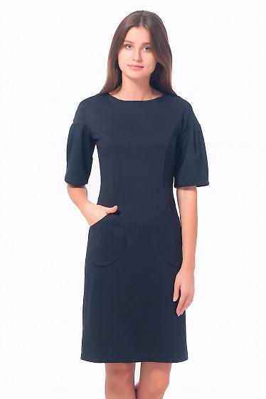 Черное трикотажное платье с рукавом-фонариком Деловая женская одежда
