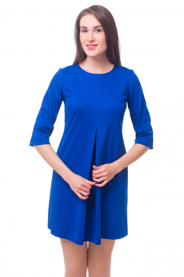 Платье трикотажное со встречной складкой Деловая женская одежда
