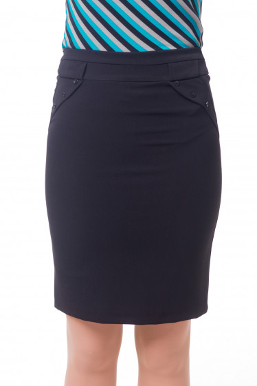 Юбка офисная теплая черного цвета Деловая женская одежда