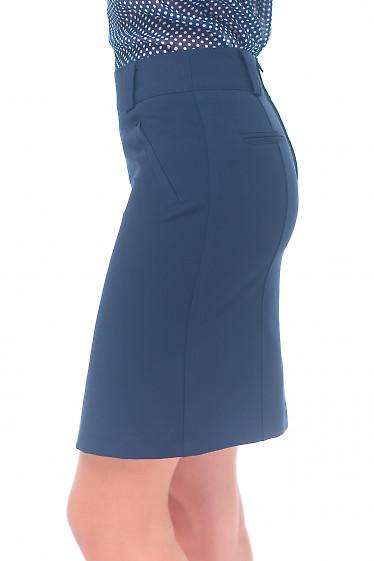 Купить синюю юбку с карманами Деловая женская одежда