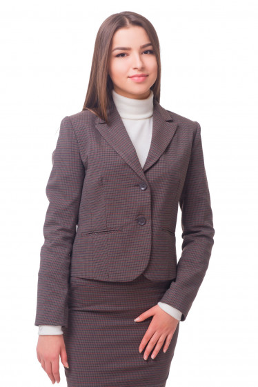 Жакет коричневый в полоску Деловая женская одежда