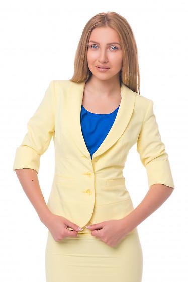 Жакет летний желтый с отрезной талией Деловая женская одежда