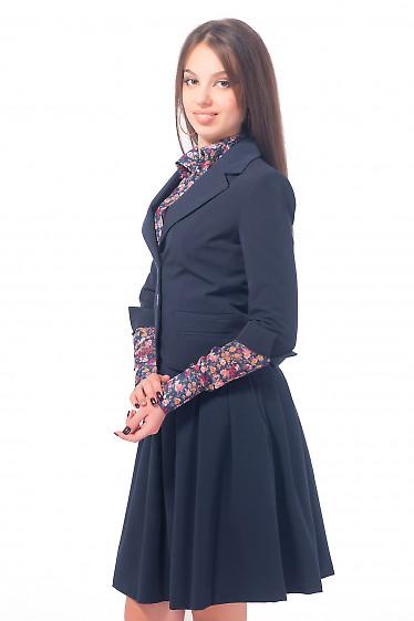 Купить жакет синий с разрезом на рукаве Деловая женская одежда