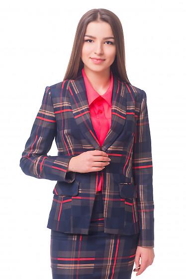 Жакет синий в красно-бежевую клетку Деловая женская одежда