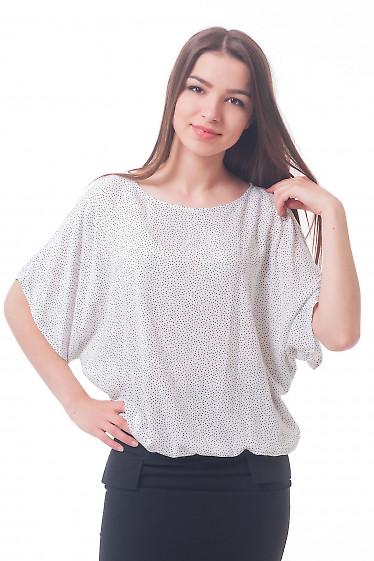 Блузка белая в черный горошек из штапеля Деловая женская одежда