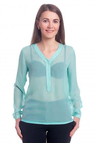 Блузка бирюзовая в горошек с планкой. Деловая женская одежда