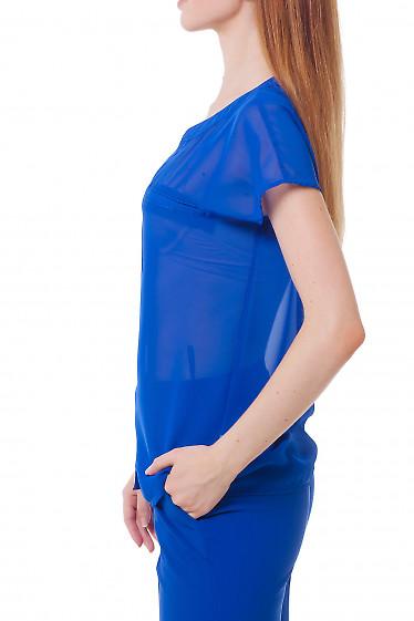 Купить блузку цвета электрик с карманом на груди Деловая женская одежда