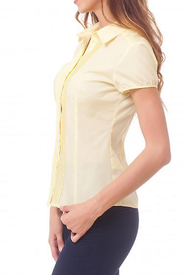 Купить блузку желтую с тонкими защипами Деловая женская одежда