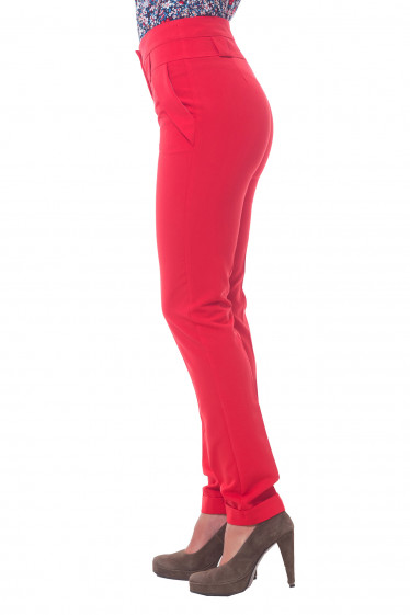 Купить брюки красные с поясом Деловая женская одежда