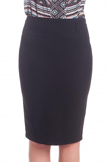 Черная юбка-карандаш с косой шлицей сзади Деловая женская одежда