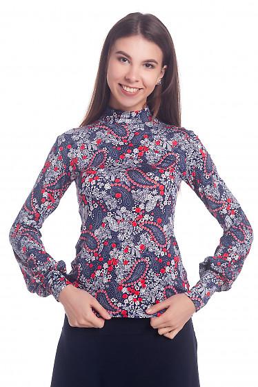 Гольф синий в цветочек Деловая женская одежда