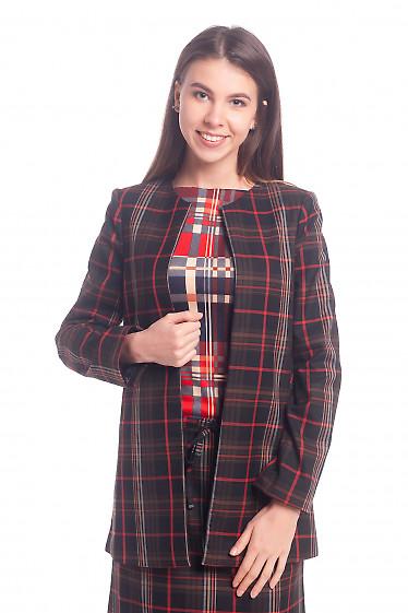 Кардиган коричневый с красной полосой Деловая женская одежда